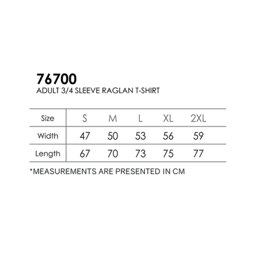 Gildan 76700 3/4 Sleeve Cotton RN (180 gsm) 3