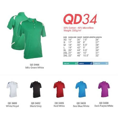 QD34 Mixed Cotton Microfibre Polo 2